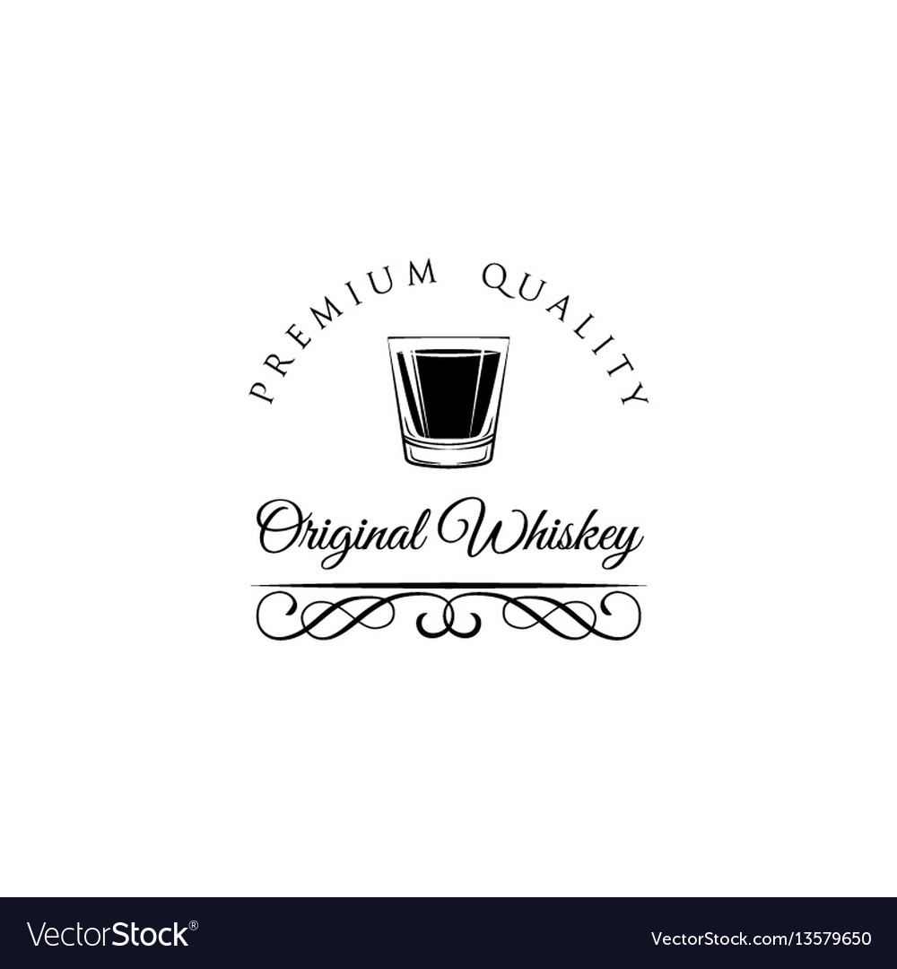 Whiskey shot glass alcohol badge and label vector image