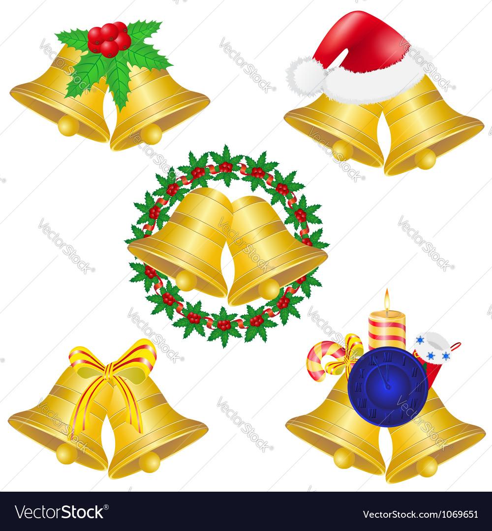 Christmas bells set icons vector image