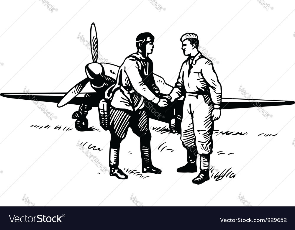 Pilot and soldier vector image