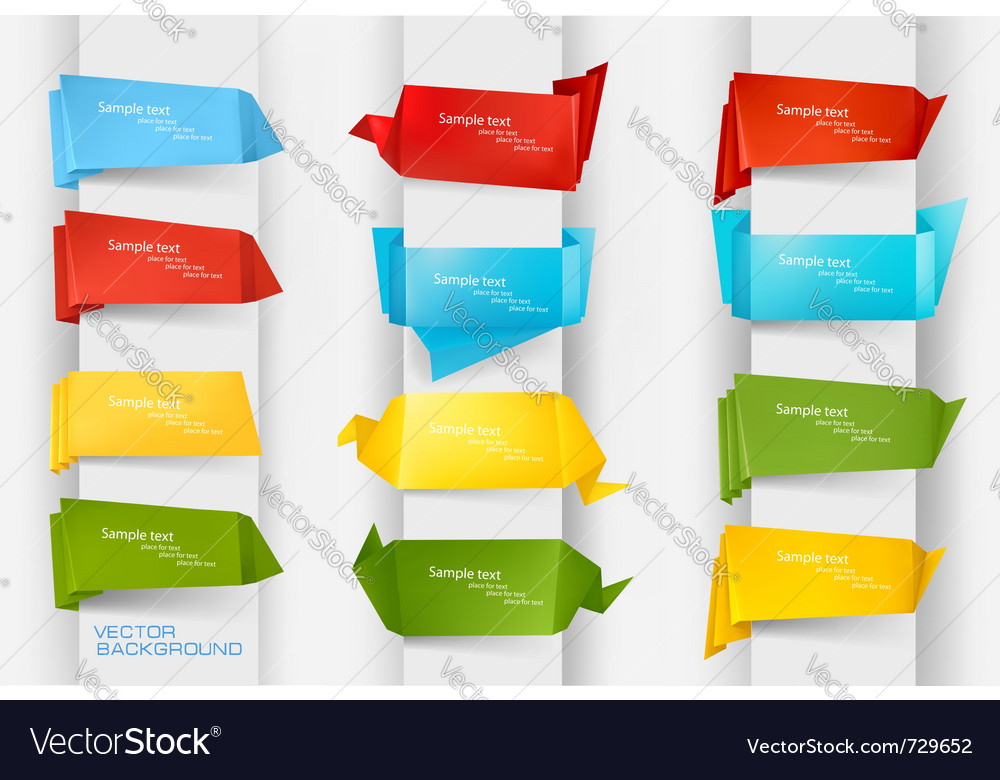 Colorful origami paper banners vector image