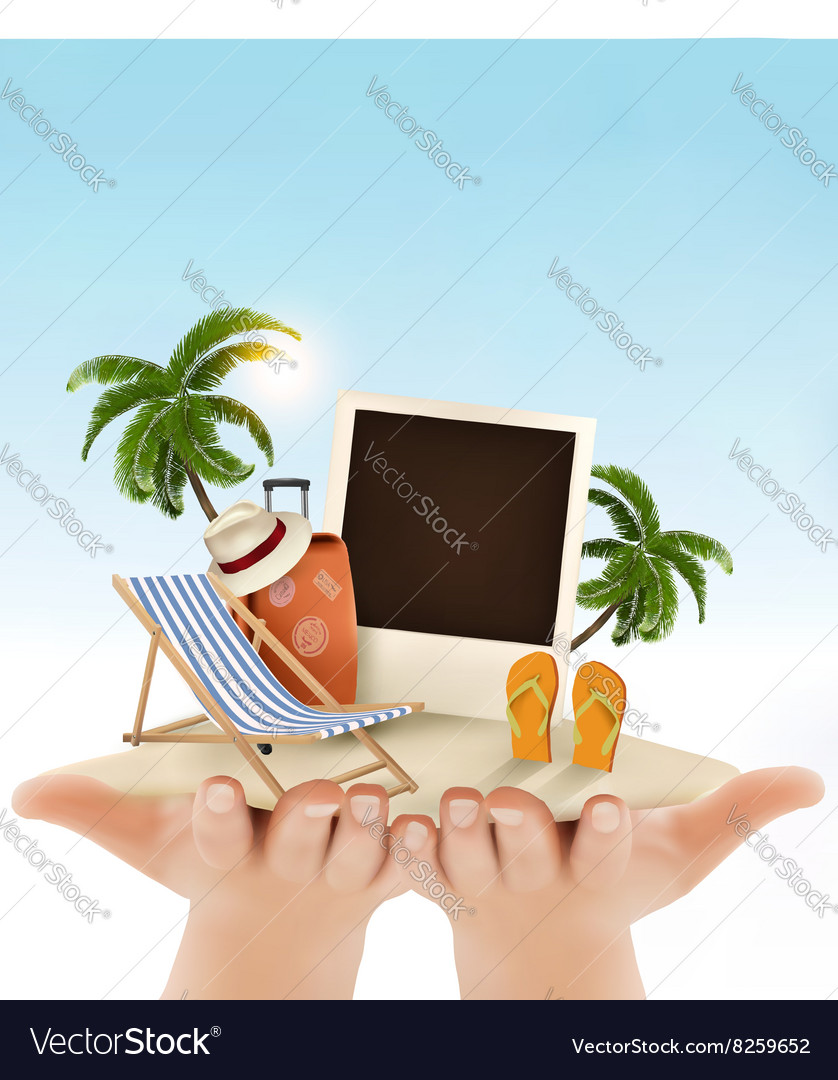Summer vacation background Hands holding up vector image