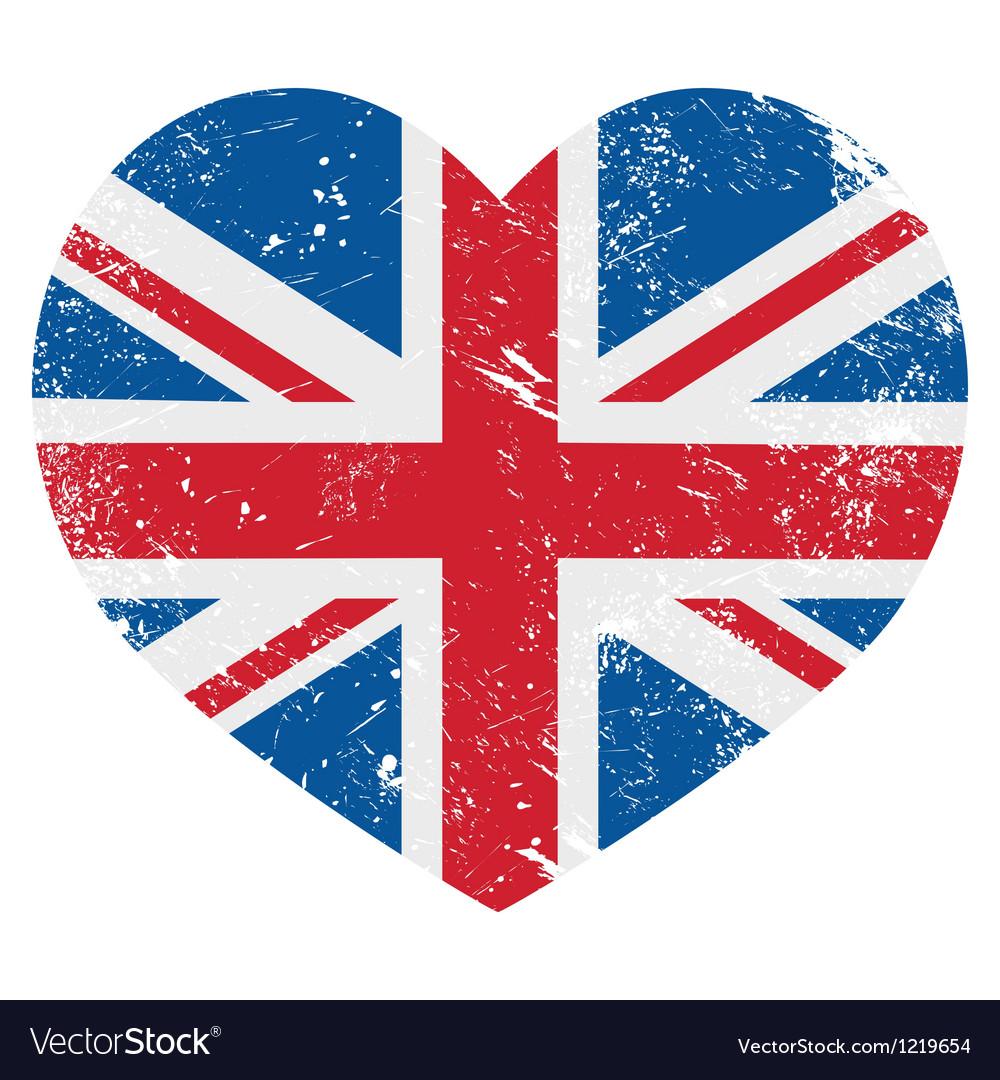 UK Great Britain retro heart flag - vector image