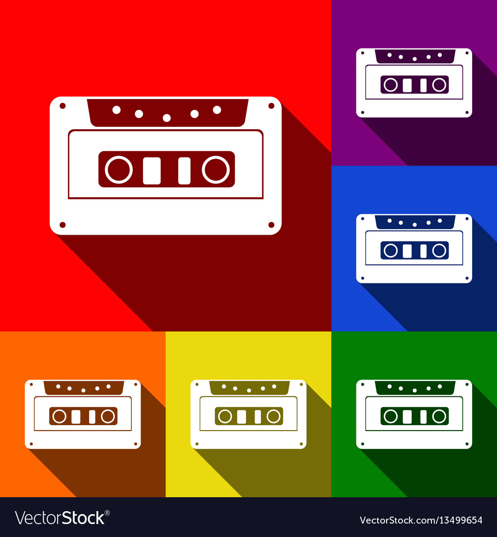 Cassette icon audio tape sign set of vector image