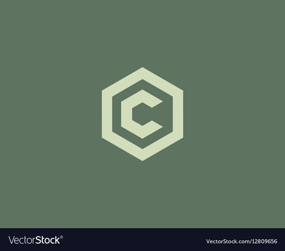 Abstract letter C logotype Line hexagon vector image