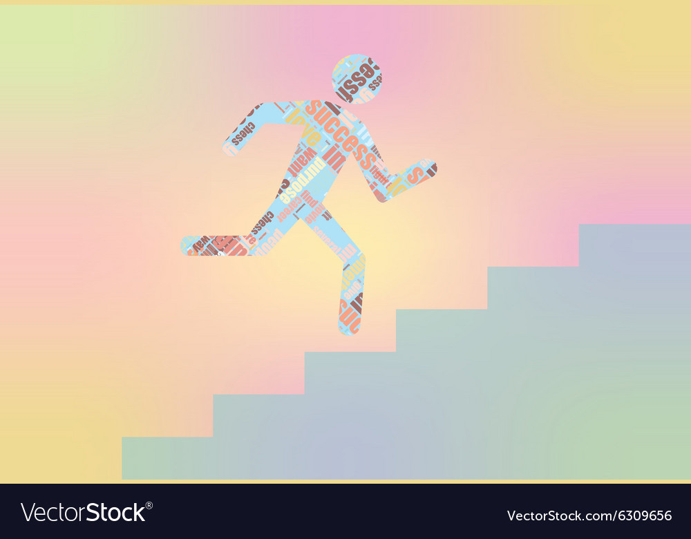 Man on Stairs going up Flat web icon or sign vector image