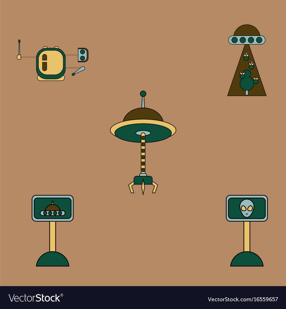 Alien spaceship icons set