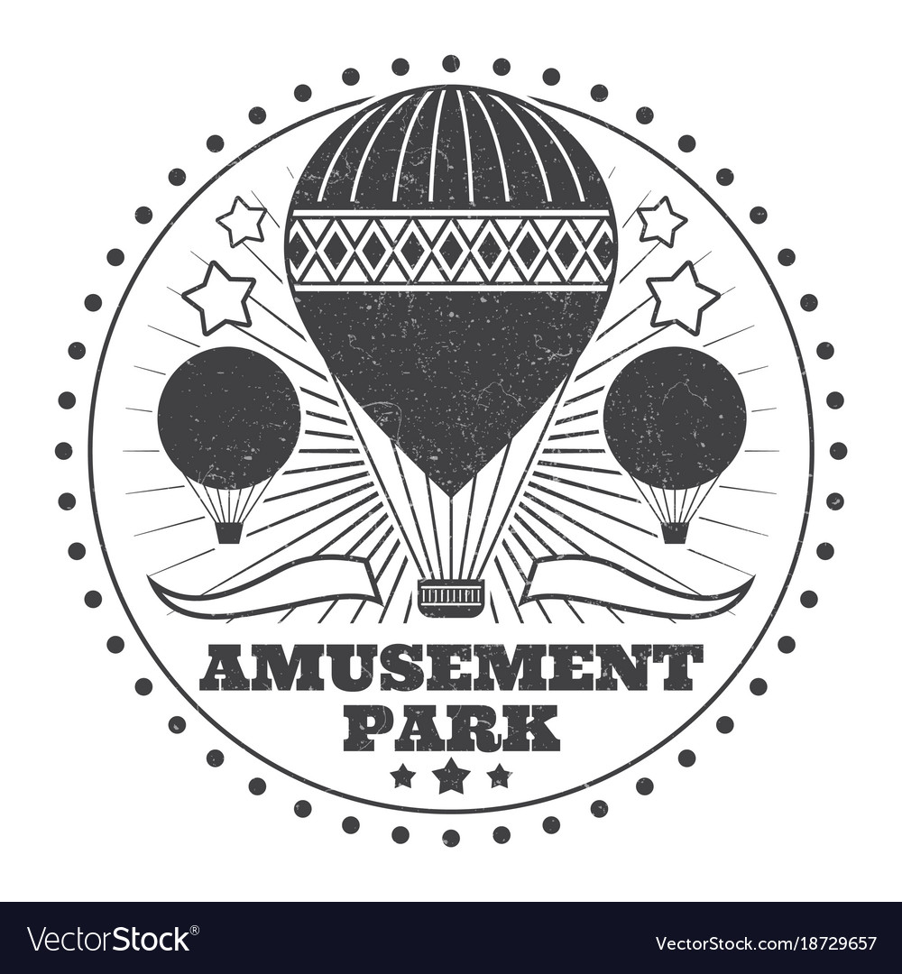 Vintage amusement park emblem with grunge effect vector image