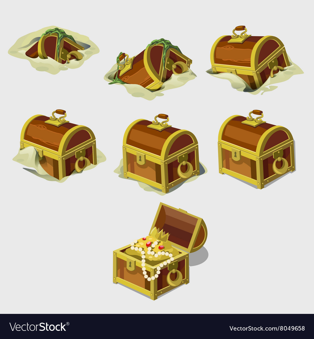 Big set chest with treasures seven icons vector image