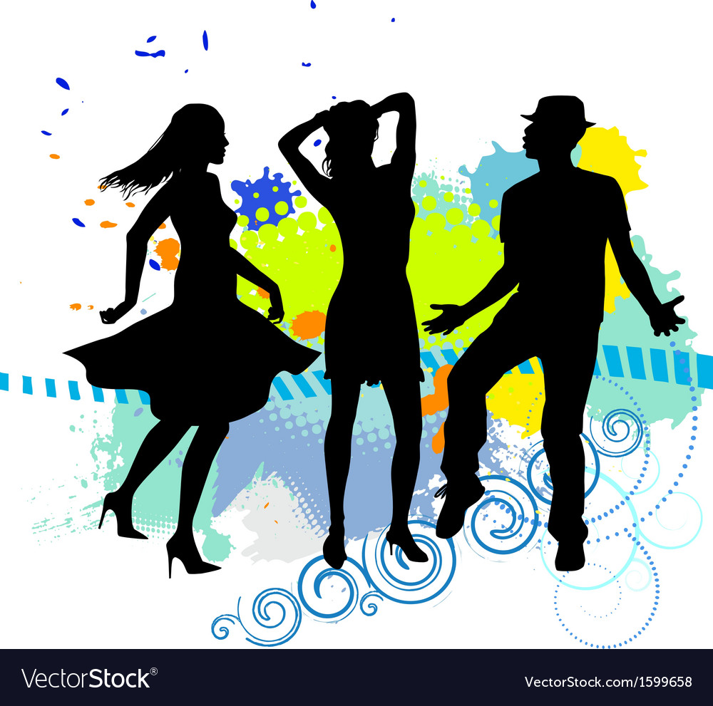 Several people are dancing on the party silhouette vector image