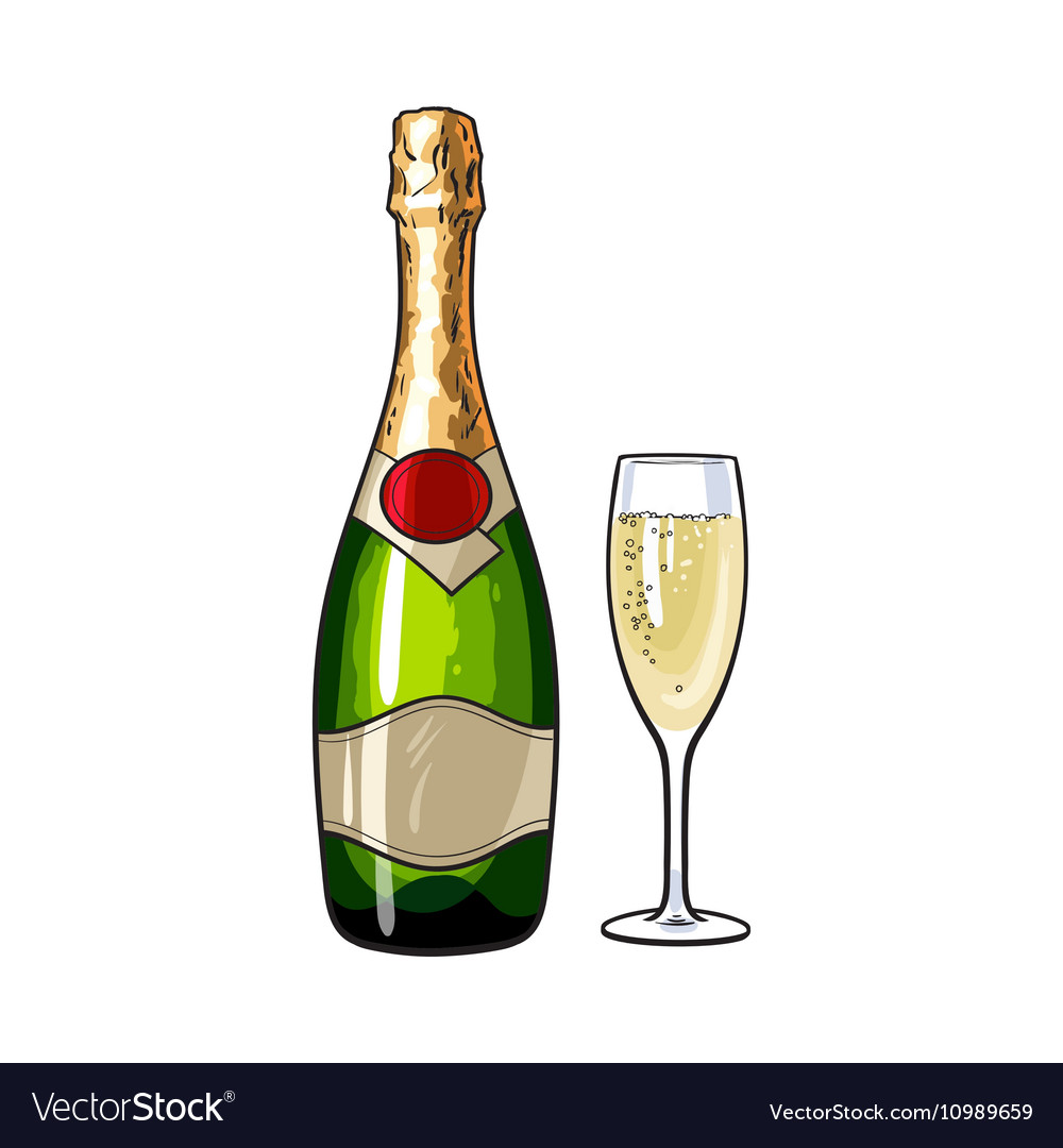 Champagne bottle and glass isolated vector image