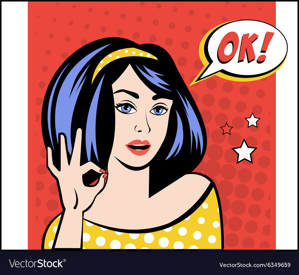 Girl with OK Speech Bubble in Popart Style vector image