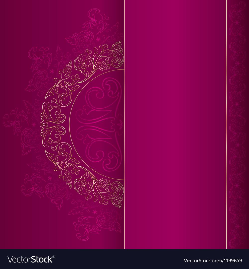 Gold vintage floral patterns on pink vector image