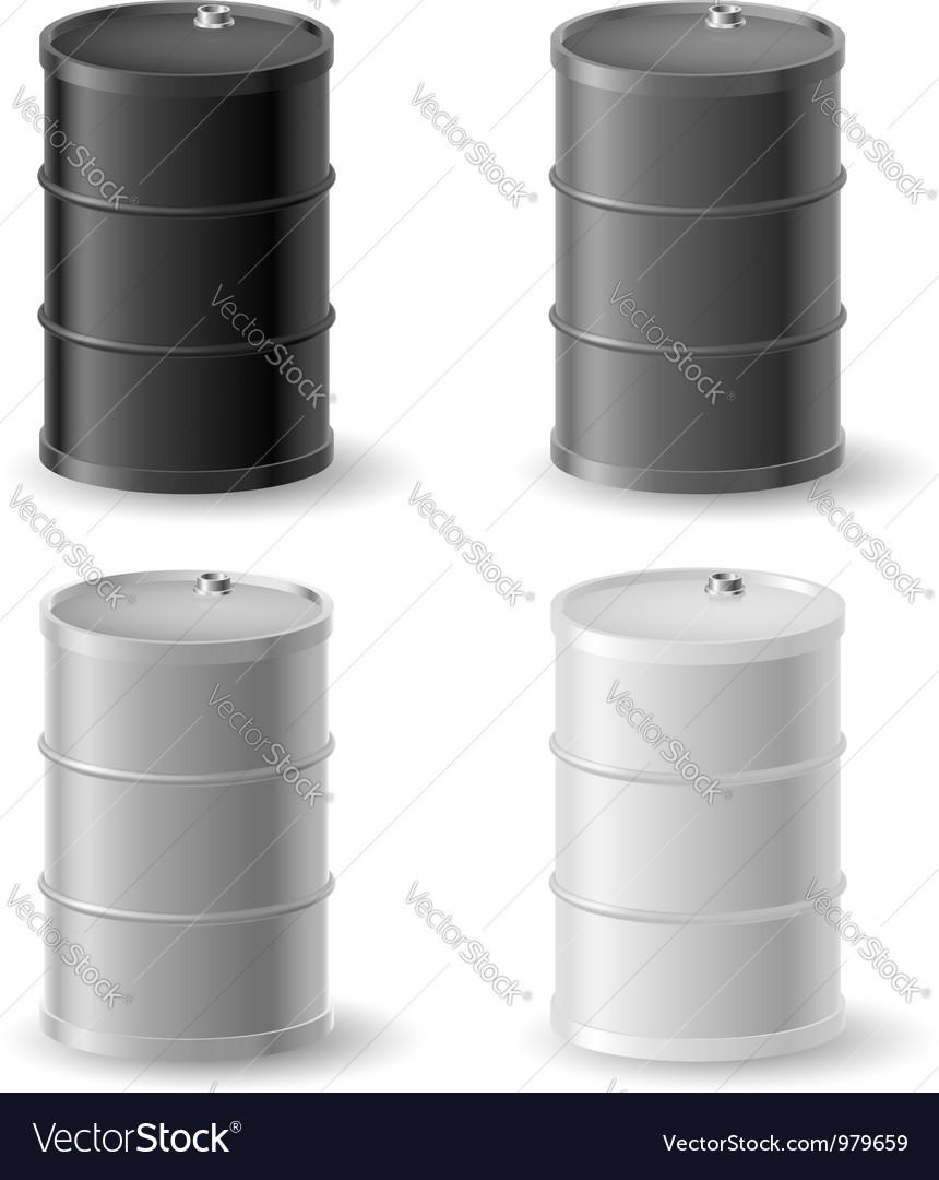 Oil barrels icon set vector image