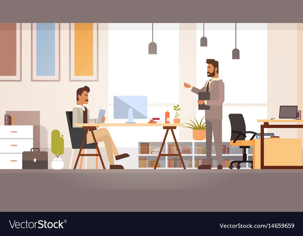 Two business man meeting discussing office desk vector image
