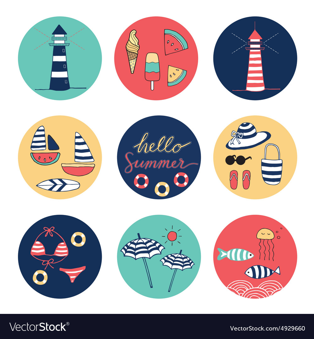 Hello summer icons circle colorful vector image