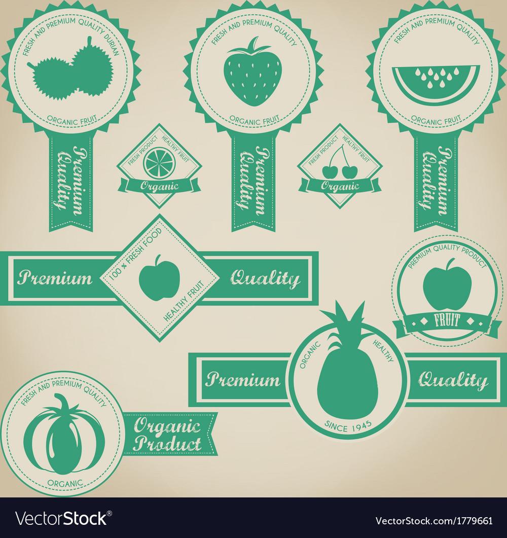 Fresh And Organic Fruit Label Design vector image