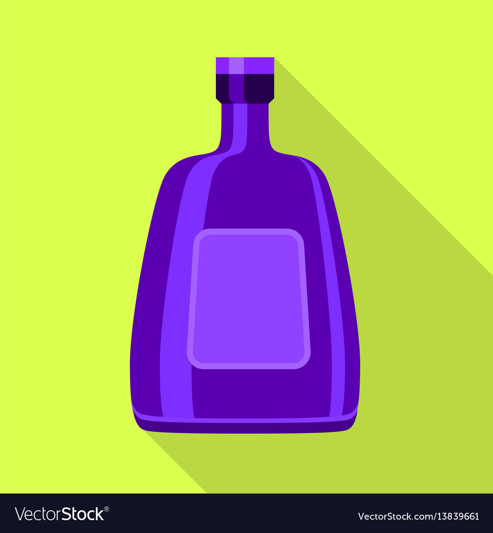 Purple glass bottle for alcohol icon flat style vector image