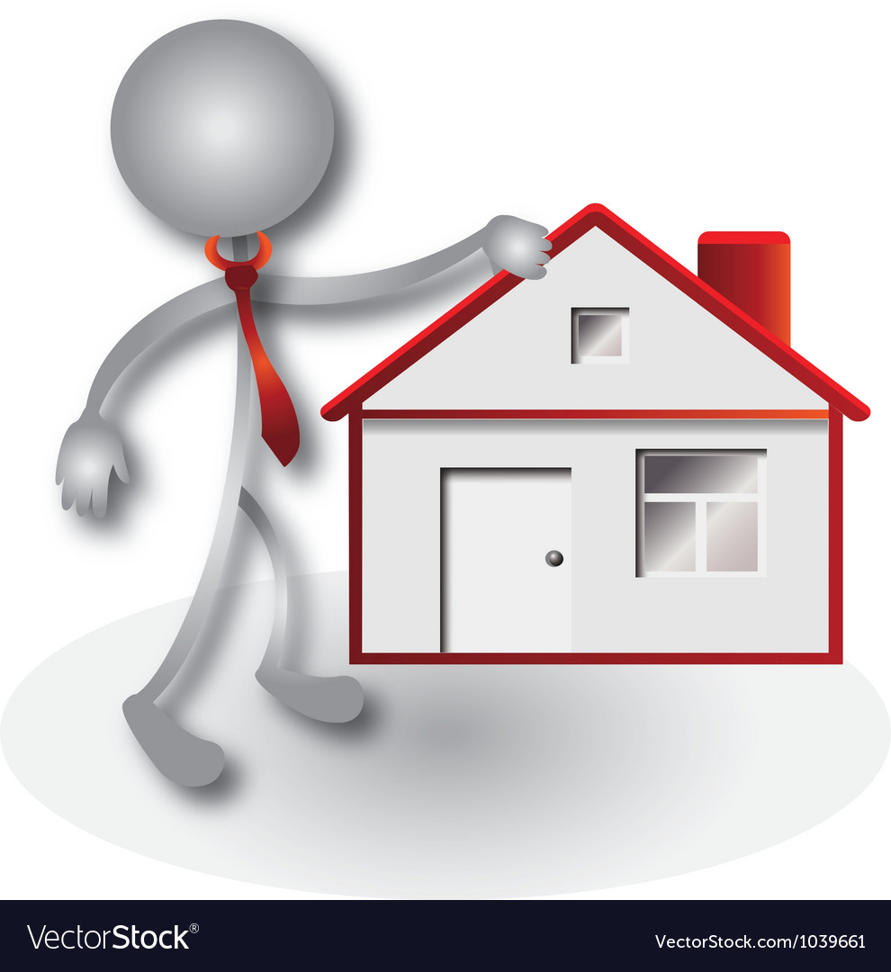 Realtor and red house vector image