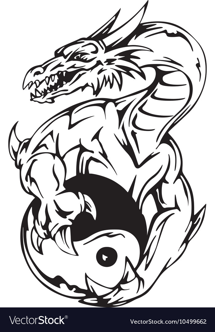 Dragon tattoo with yin-yang sign vector image