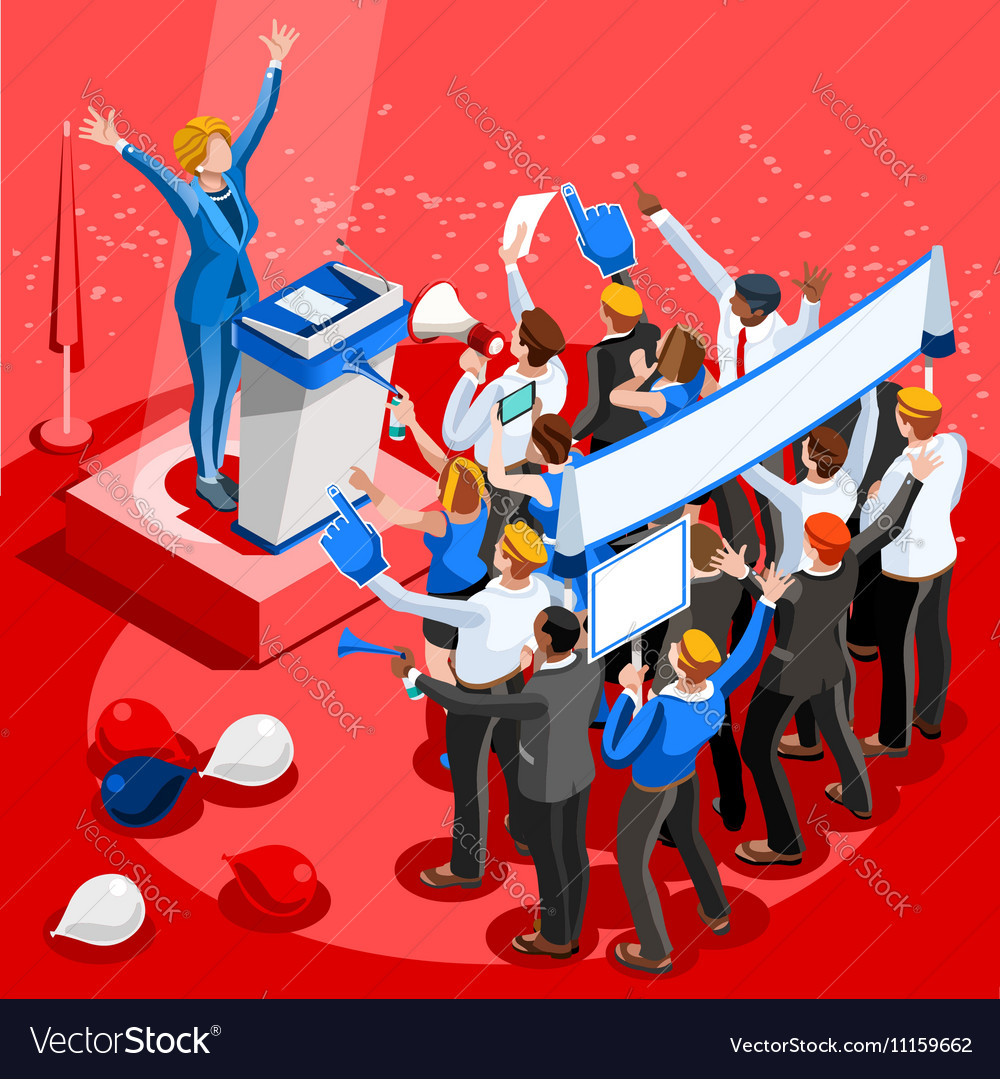 Election Infographic Convention Center Isometric vector image