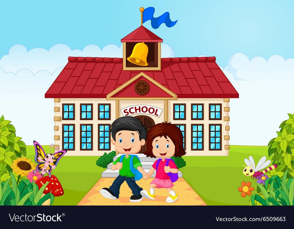 Cartoon little children leaving school vector image