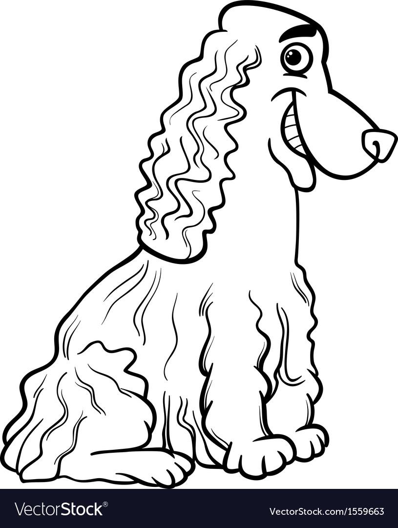 cocker spaniel cartoon for coloring book vector image