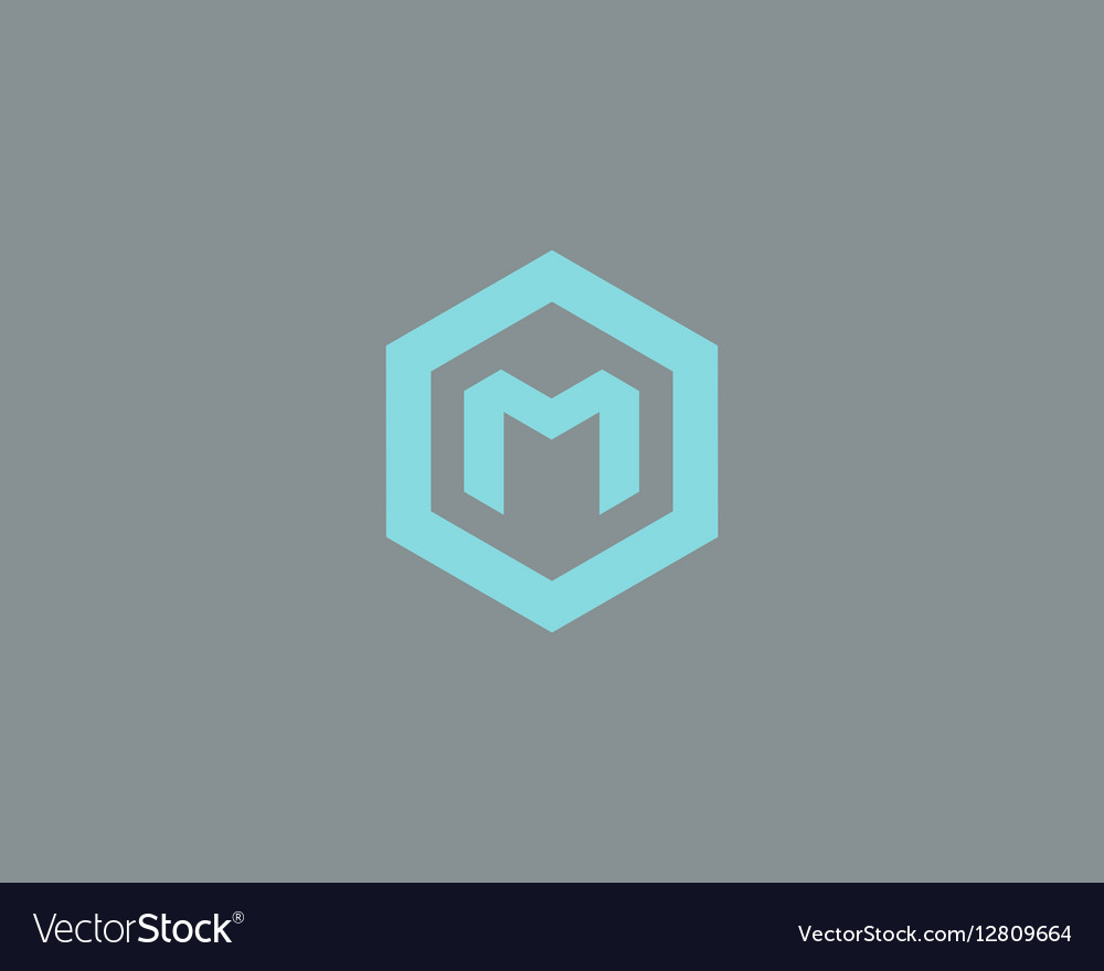 Abstract letter M logotype Line hexagon vector image