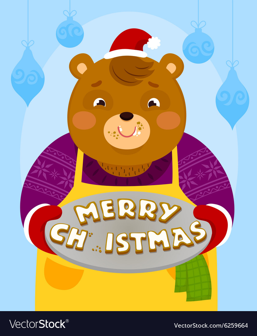 Bear with Christmas cookies vector image
