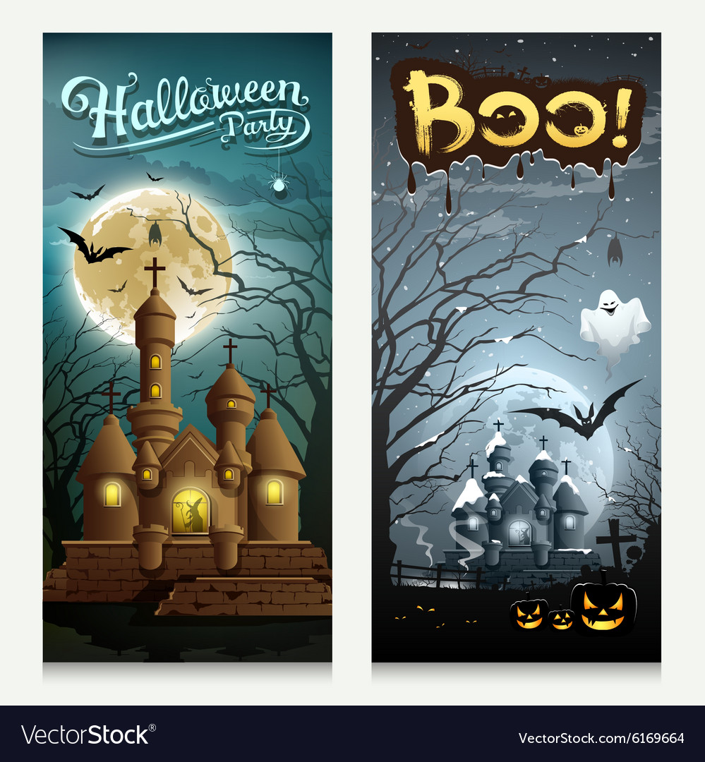 Happy Halloween houses collections banner vector image