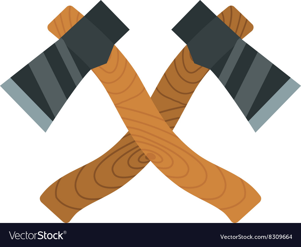 Two axes timber lumberjack tools for chopping wood vector image