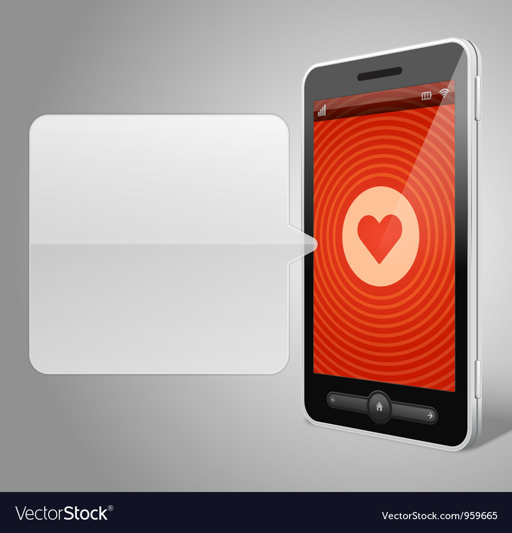 Mobile phone and heart icon vector image