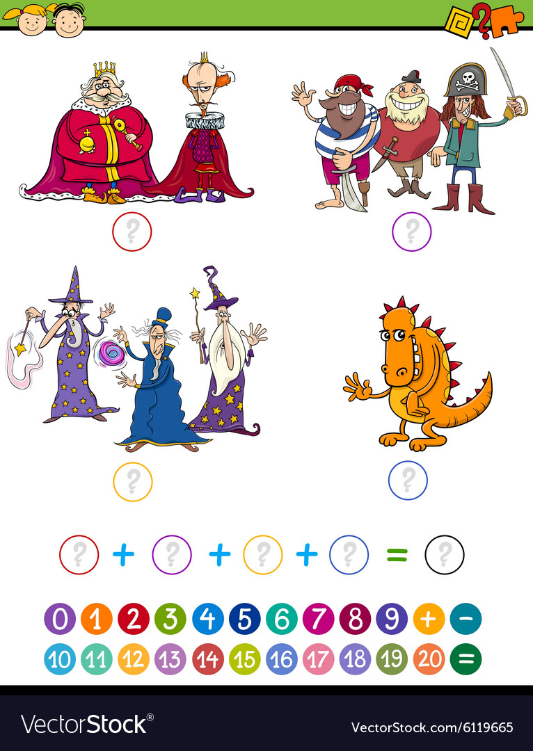Cartoon math game for kids vector image