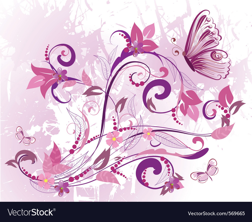 flowers and butterfly royalty free vector image