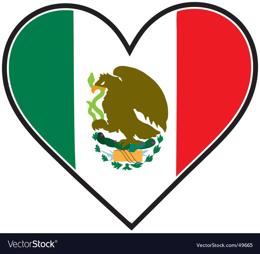 mexico heart flag royalty free vector image vectorstock