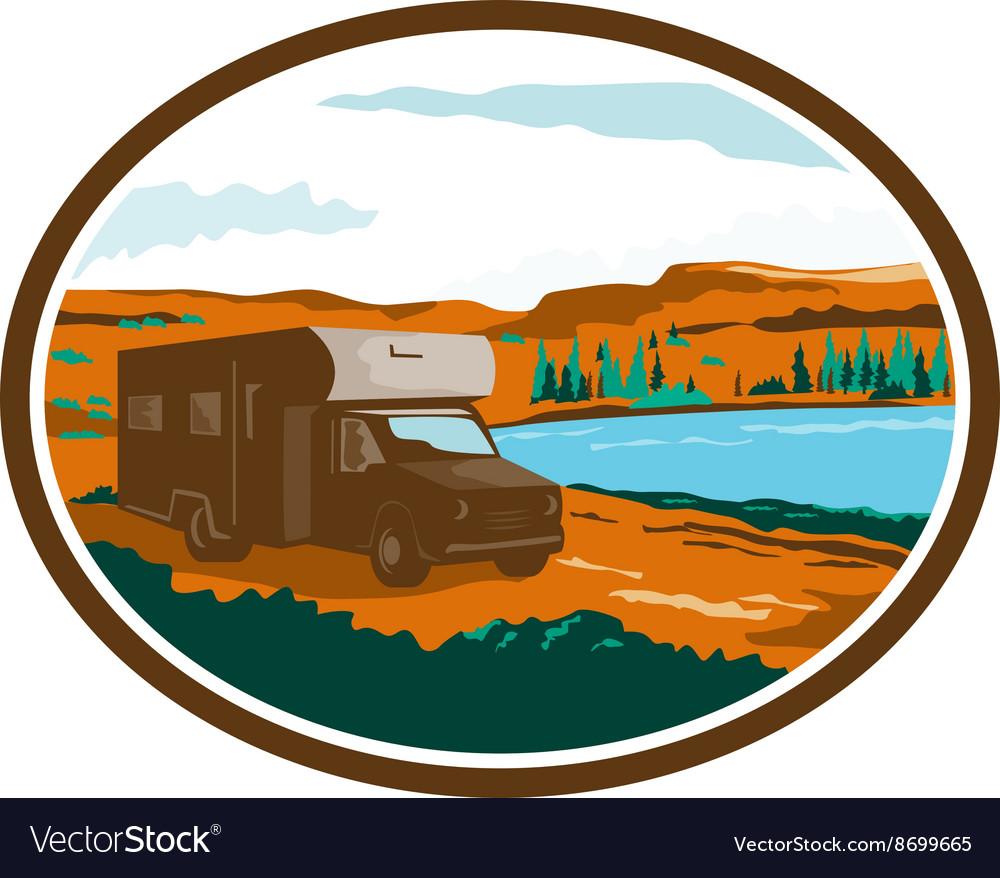 RV Camper Van Desert Scene Oval Retro vector image