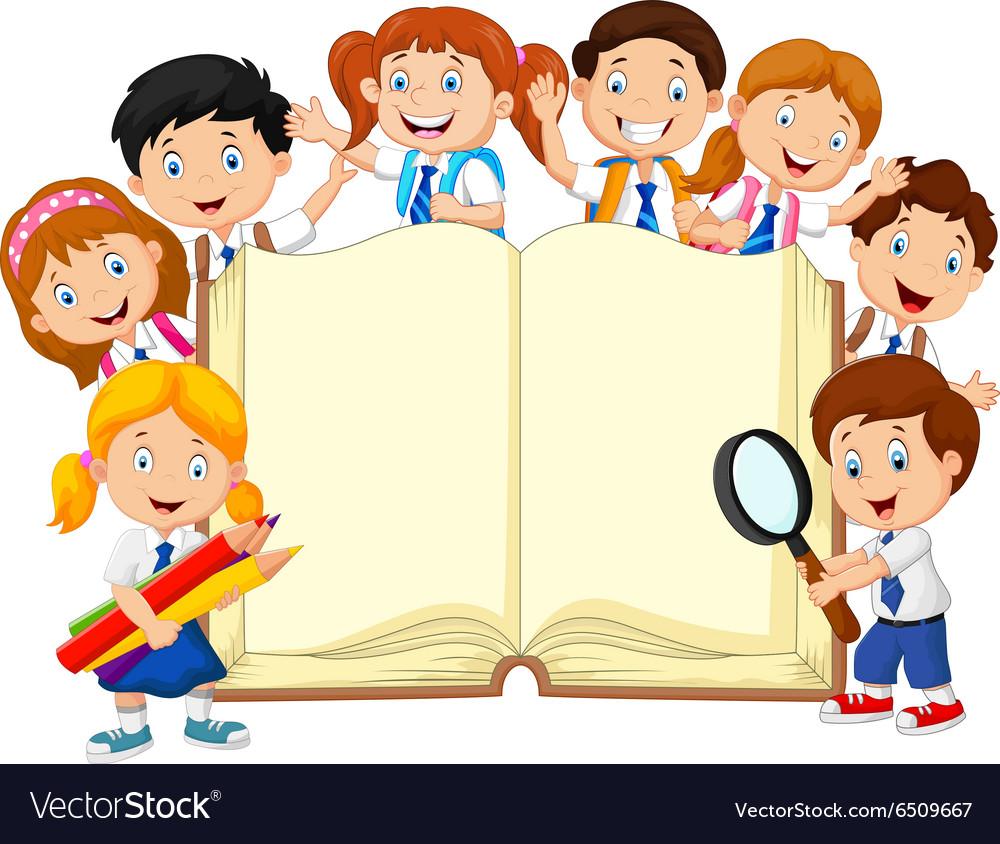 Cartoon school children with book isolated vector image