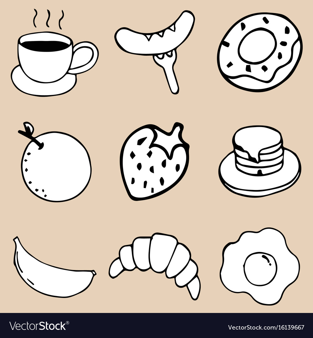 Hand drawing breakfast doodle icon design vector image