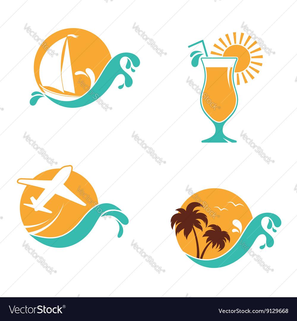 Summertime emblems set vector image