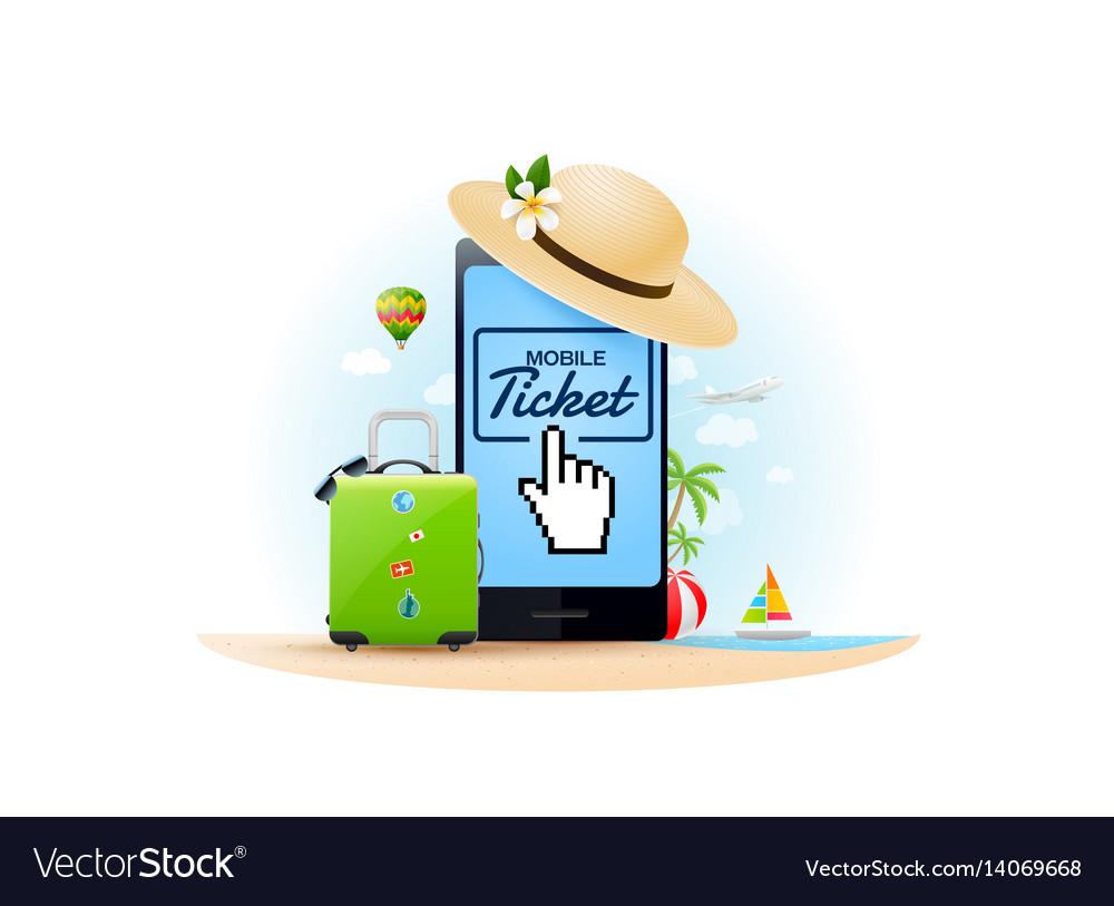Travel online ticket vector image