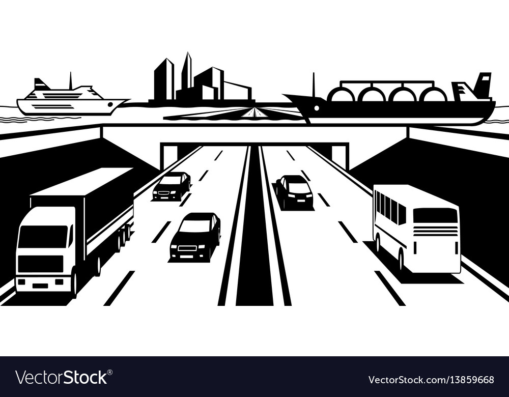 Water bridge above highway vector image