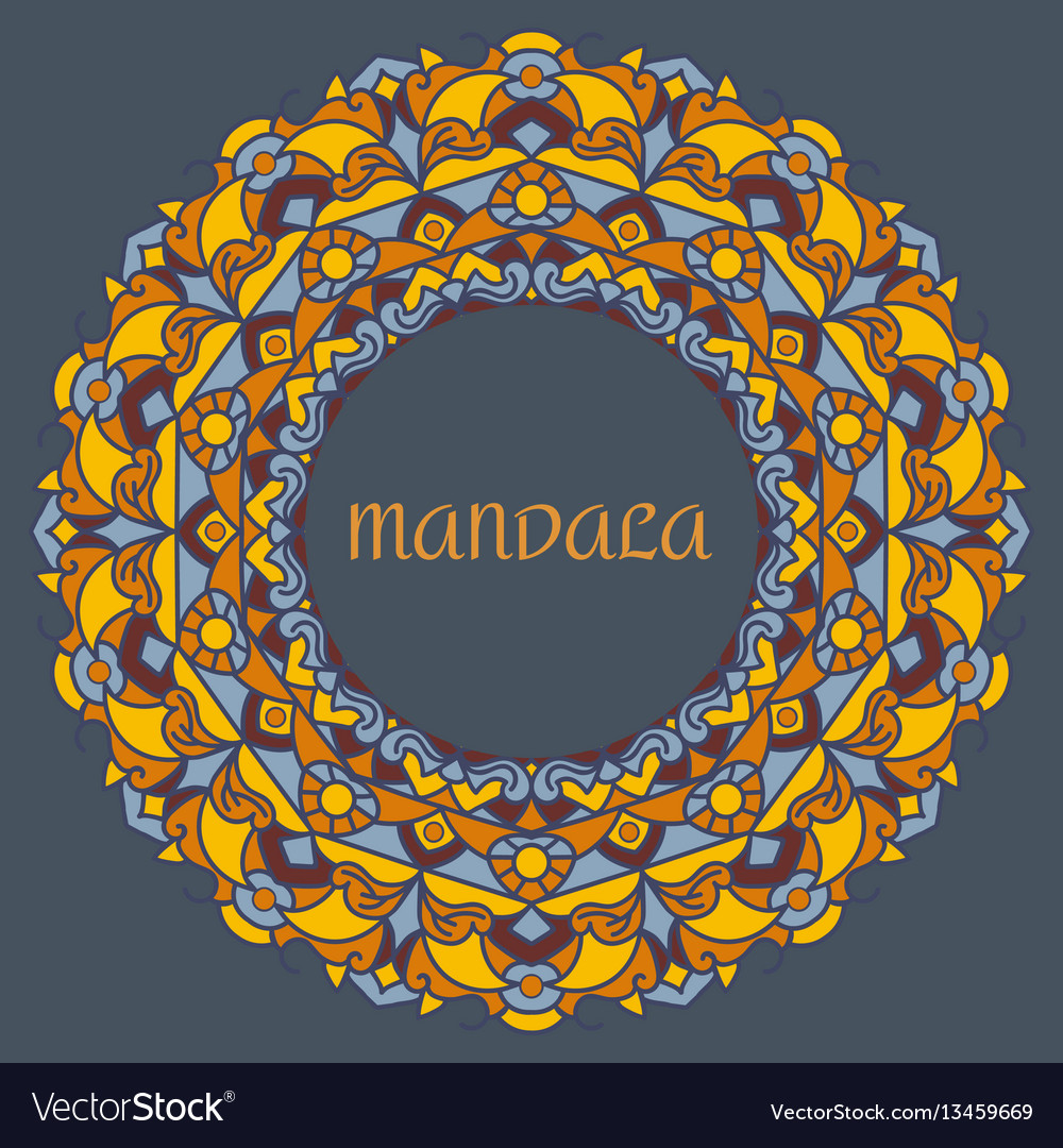 Beautiful color mandala on a dark blue vector image