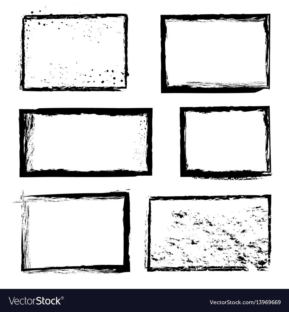 Rough grunge distressed ink image border vector image