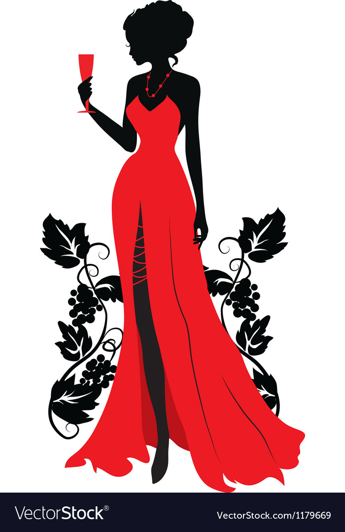 Silhouette of woman with wineglass vector image