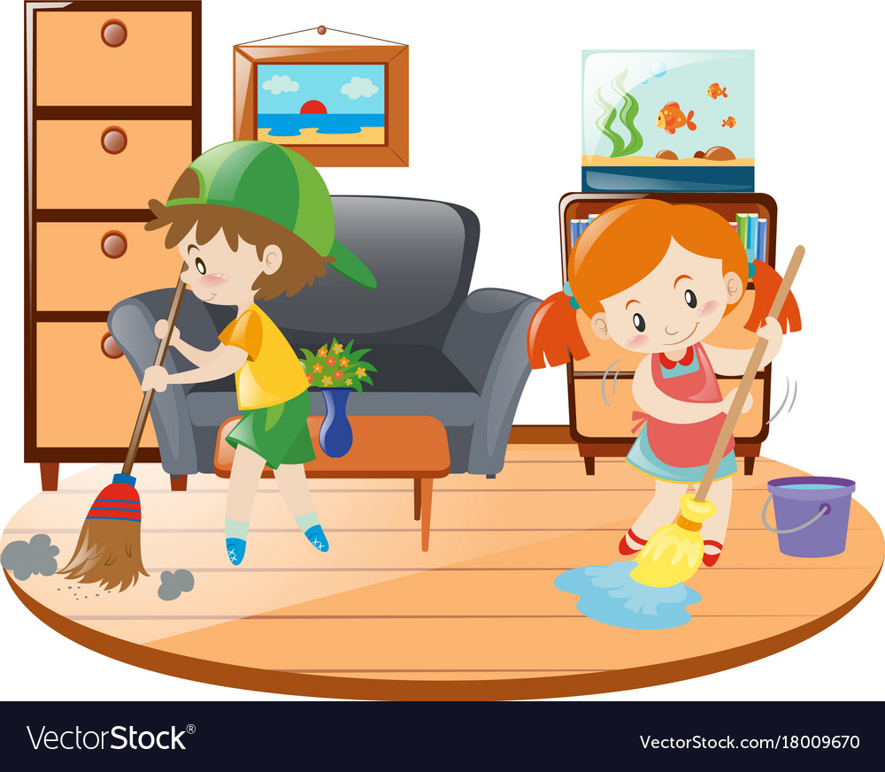 Boy And Girl Cleaning Living Room Vector Image