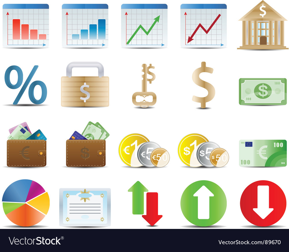 Finals stock and economy icons vector image