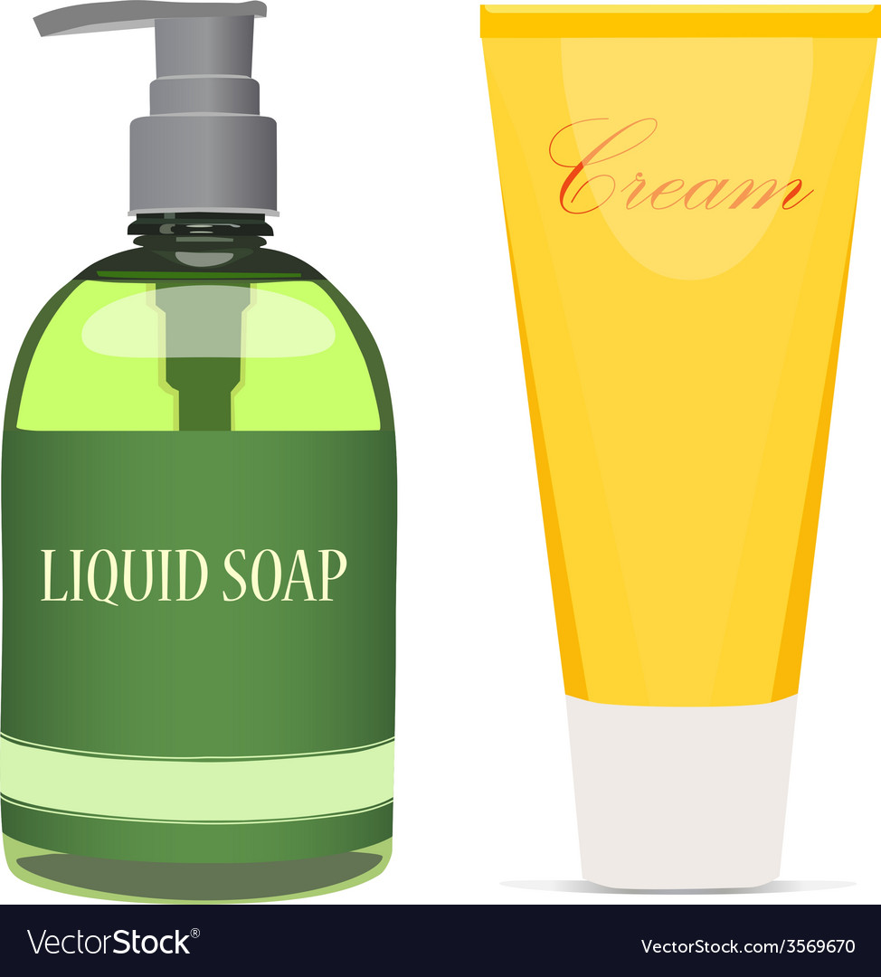 Liquid soap bottle and cream tube vector image