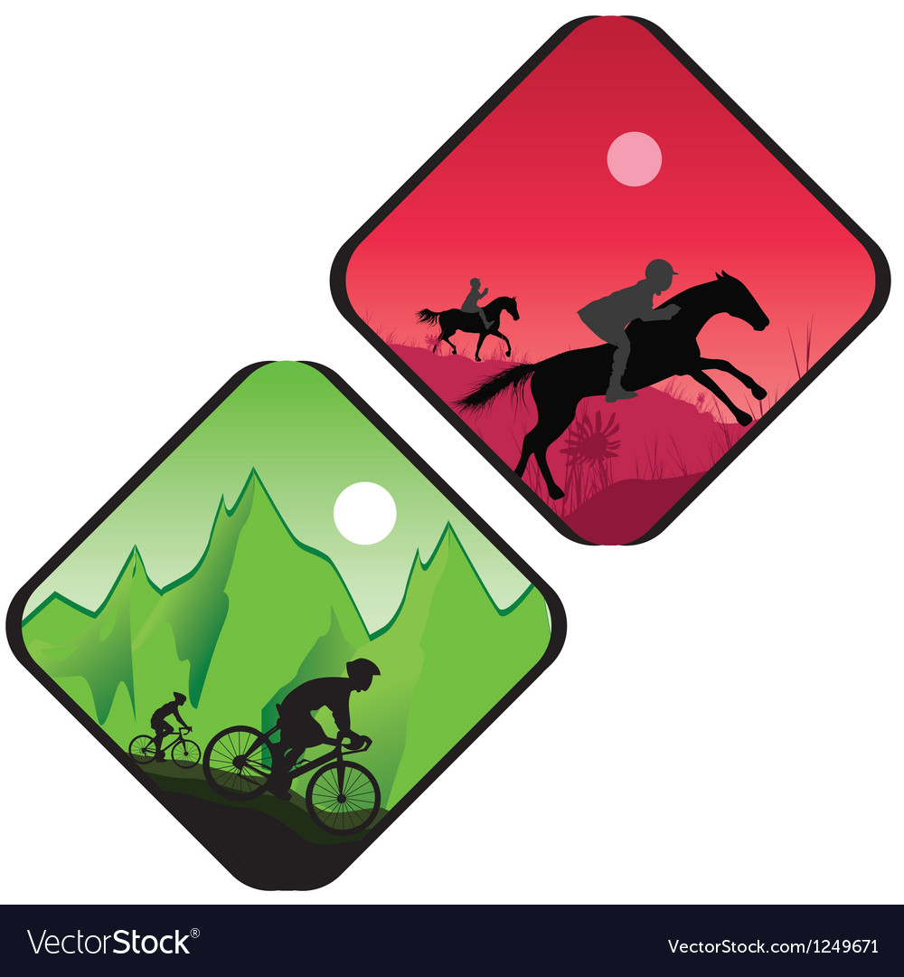 Biker and horse rider silhouette vector image