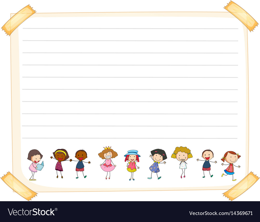 Line paper template with happy kids vector image