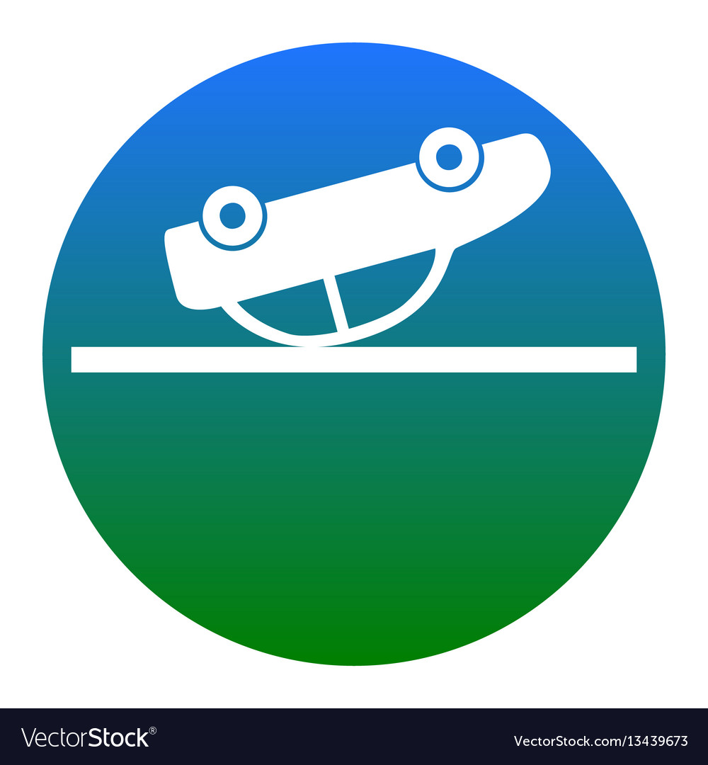 Crashed car sign white icon in bluish vector image