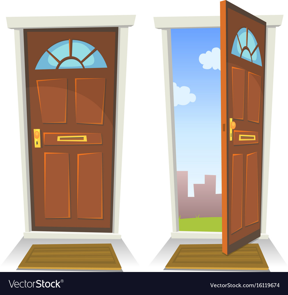 Cartoon red door open and closed Royalty Free Vector Image